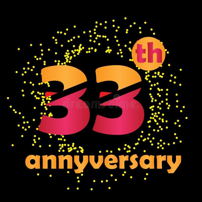 33 Anniversario Di Matrimonio.33 Year Anniversary Vector Template Design Illustration Stock