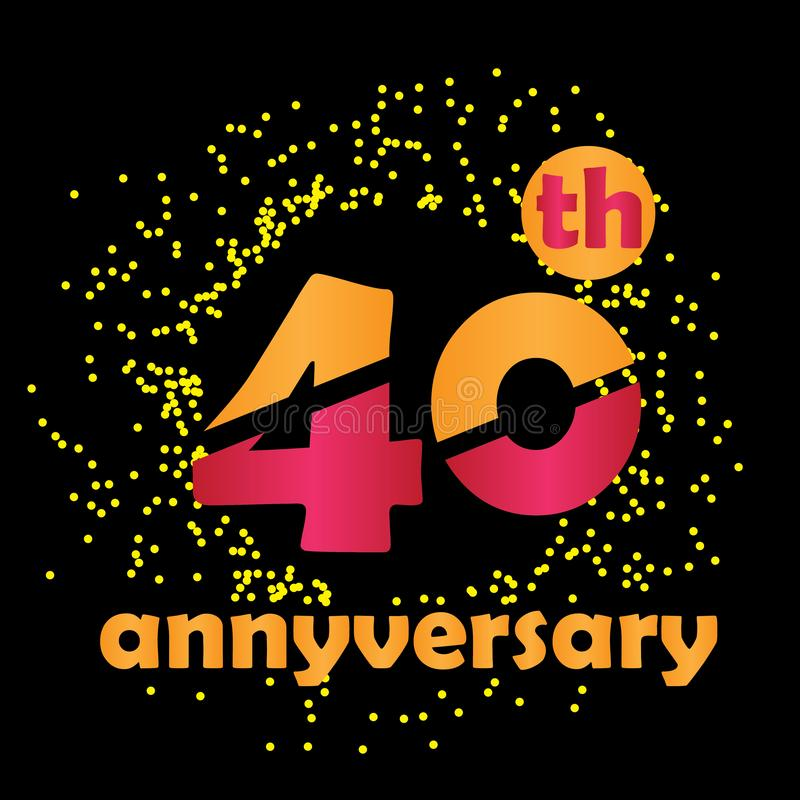 40 Year Anniversary Vector Template Design Illustration - Vector vector illustration