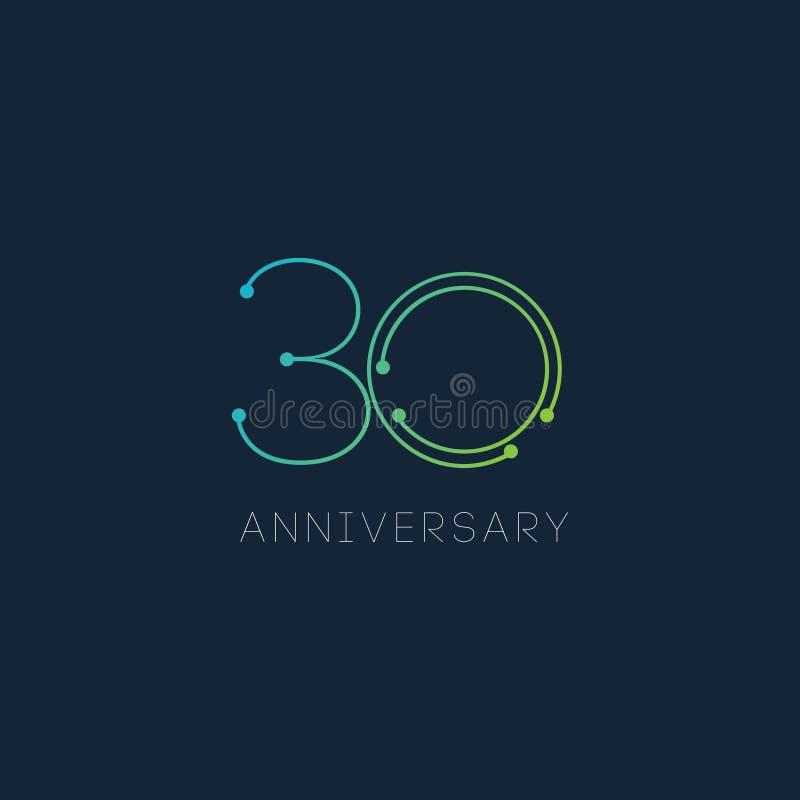 30 Year Anniversary Vector Template Design Illustration stock illustration