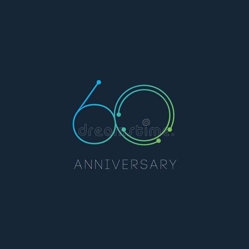 60 Year Anniversary Vector Template Design Illustration royalty free stock image