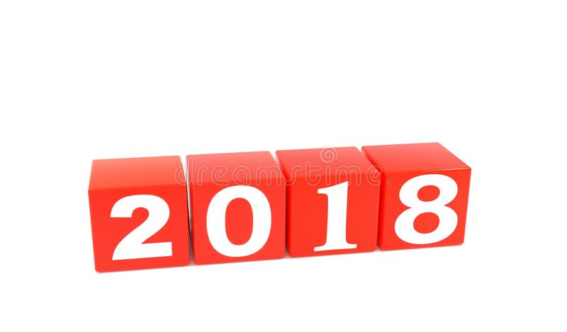 2018 year, annum. The idea Season the Fate of the Text banner white business forward year sign frame ago new past perspective three-dimensional background 2 2017 royalty free stock image