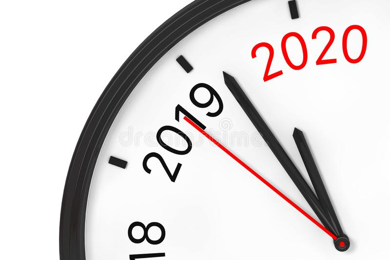 The Year 2020 is Approaching. 2020 Sign with a Clock. 3d Rendering royalty free stock photos