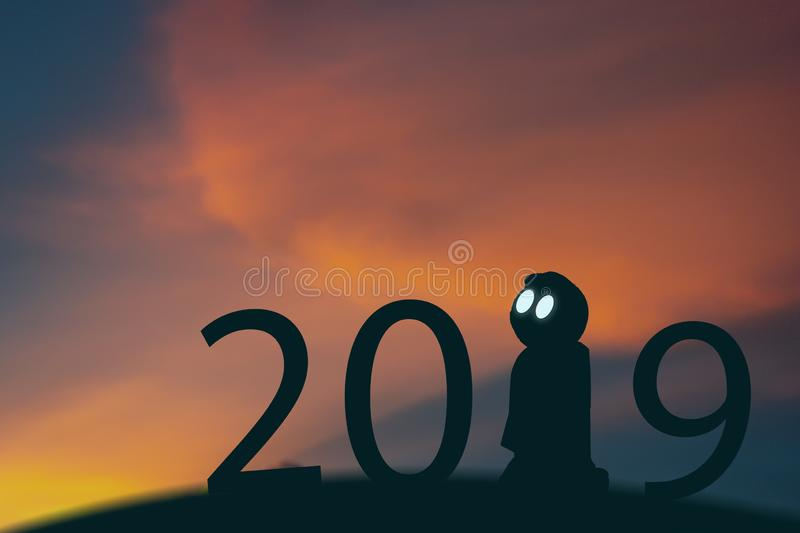 2019 year artificial intelligence or ai futuristic concept, Silhouette Business man stand and point hand to command or control as royalty free stock photos