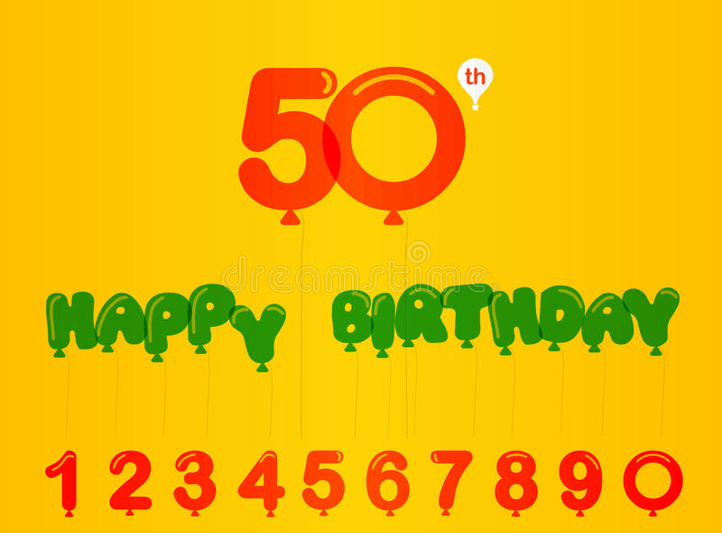 50 year birthday celebration card , 50th anniversary with balloon effect and numbers royalty free illustration