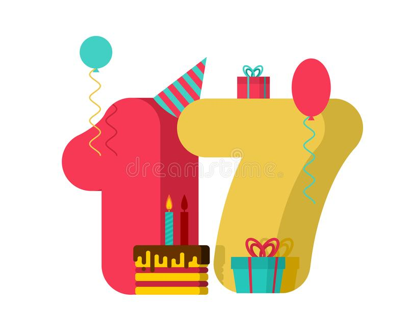 17 year Birthday sign. 17th Template greeting card anniversary c royalty free illustration