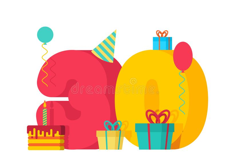 30 year Birthday sign. 30th Template greeting card anniversary c vector illustration