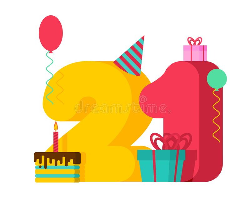 21 year Birthday sign. 21th Template greeting card anniversary c. Elebration. twenty-one number and festive piece of cake with candle. Balloon and Gift box stock illustration