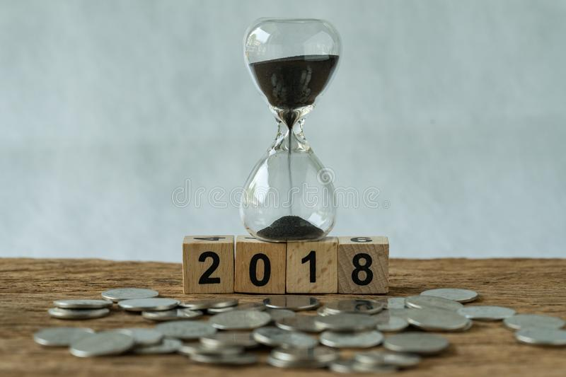Year 2018 business time start or long term investment concept as stock image