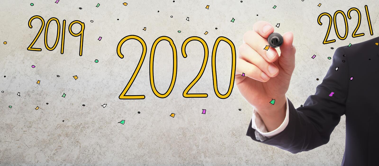 Year 2020 with businessman. On gray wall background royalty free illustration