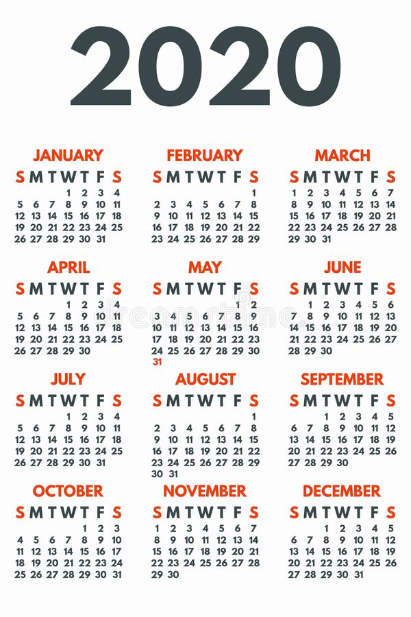 2020 year calendar concept banner, flat style royalty free stock images