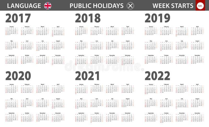 2017-2022 year calendar in English language, week starts from Sunday stock illustration