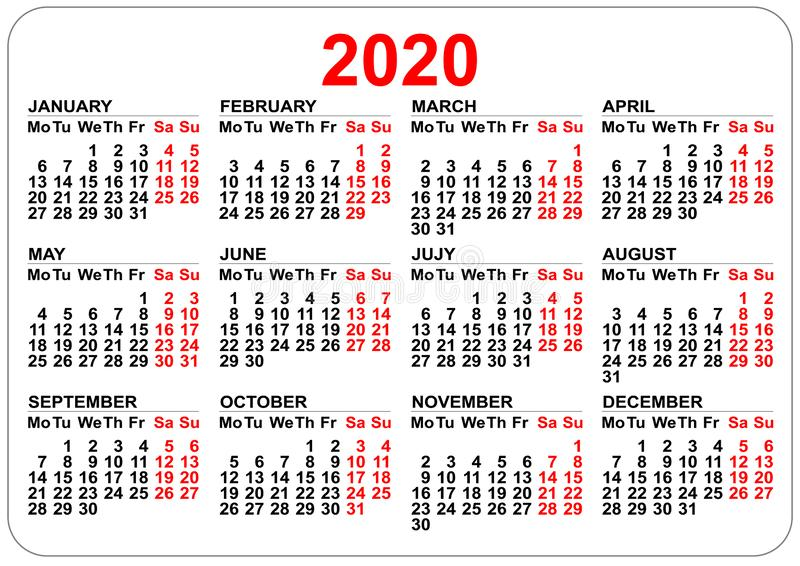 2020 year calendar grid. Numbers isolated on white stock photo