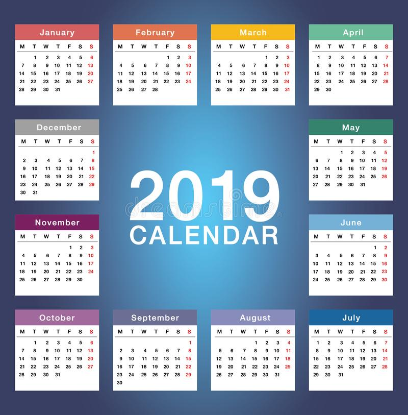 Year 2019 calendar horizontal vector design template, simple and clean design. Calendar for 2019 on White Background for organizat. Ion and business. Week Starts stock illustration