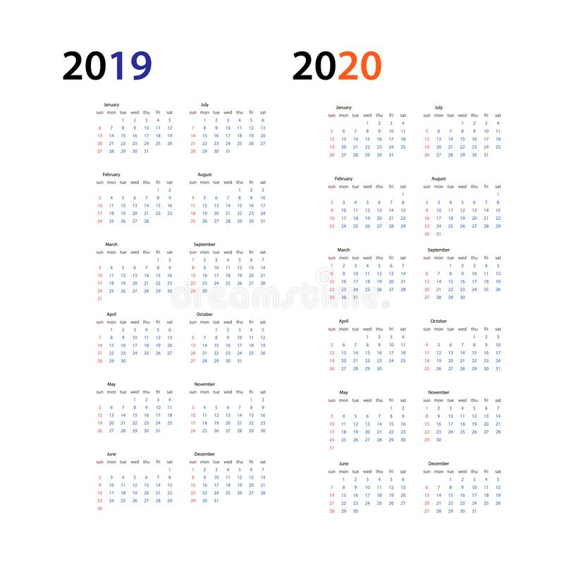 Year 2019 and Year 2020 calendar horizontal vector design template, simple and clean design. Calendar for 2019 and 2020 stock illustration