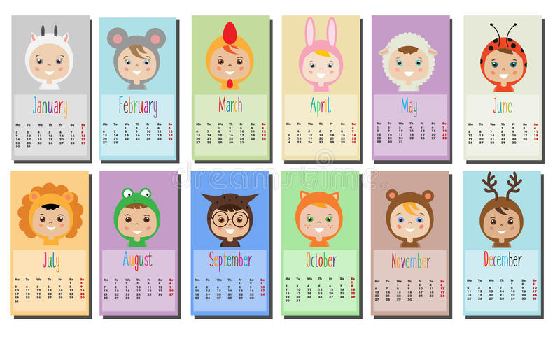 2017 year calendar with Kids in party Outfit. Children in Animal Carnival Costumes. 12 month, full year calendar design template. Calendar for kids royalty free illustration