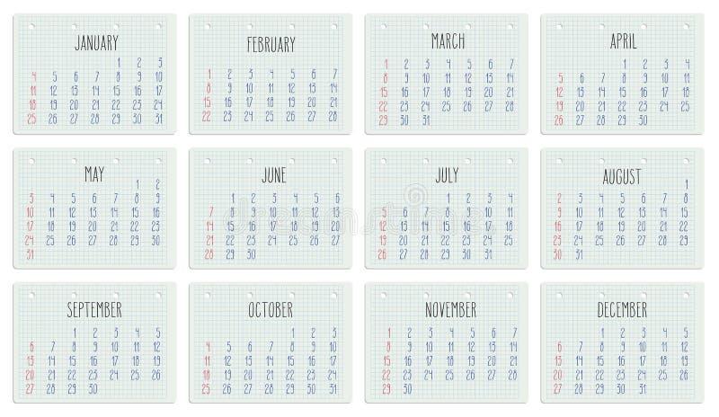 Calendar Notebook 2015 : Year calendar on notebook page stock vector image