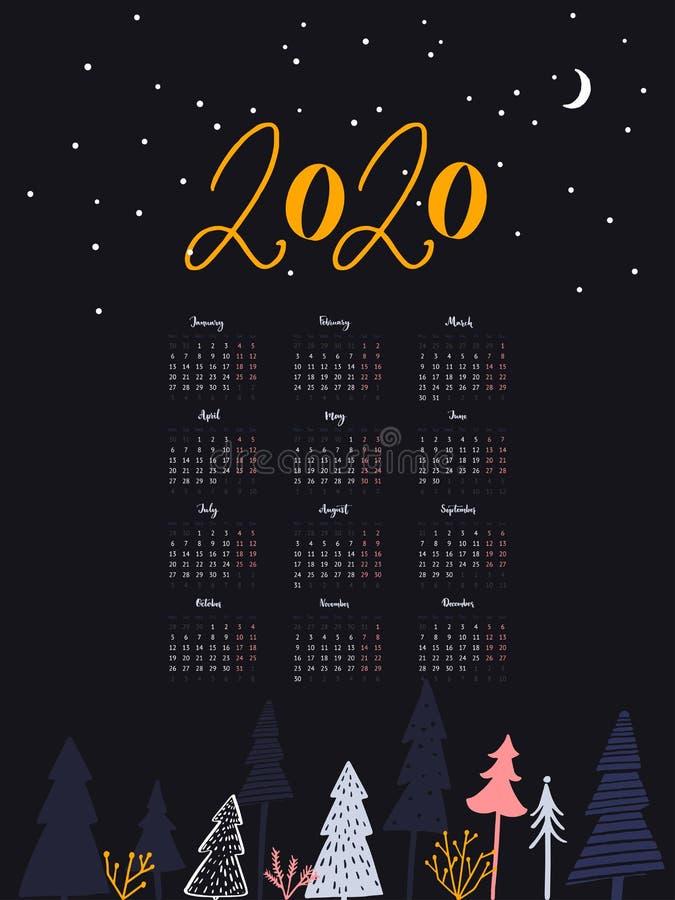 2020 year calendar. One sheet layout with handwritten calligraphy months. Dark blue design, night winter forest scene royalty free illustration