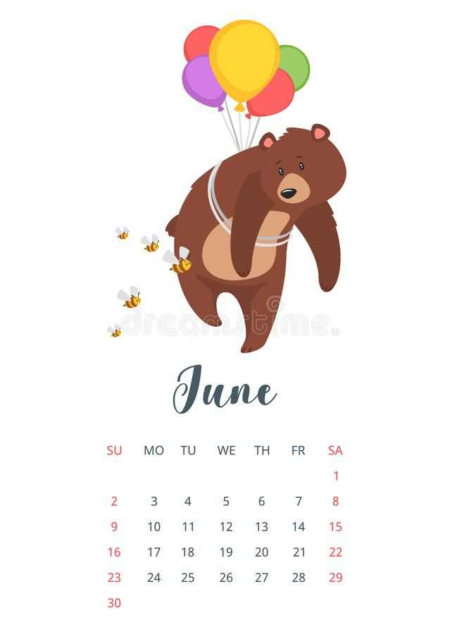 2019 year calendar page. Vector cartoon style illustration of June 2019 year calendar page with cute brown grizzly bear, isolated on white background. Teddy stock illustration