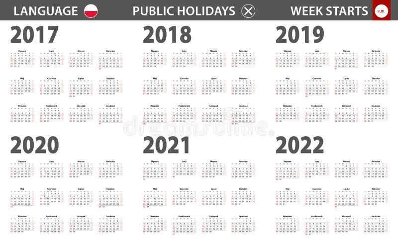 2017-2022 year calendar in Polish language, week starts from Sunday stock illustration