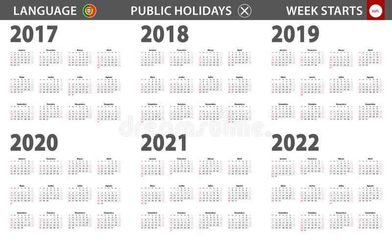 2017-2022 year calendar in Portuguese language, week starts from Sunday royalty free illustration