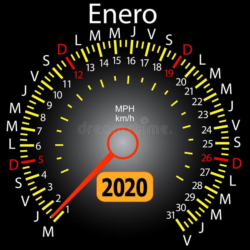 2020 year calendar speedometer car in Spanish January royalty free illustration