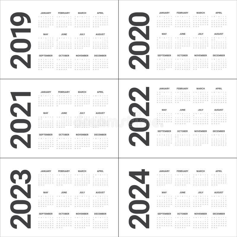 December 2022 And January 2023 Calendar.Year 2019 2020 2021 2022 2023 2024 Calendar Vector Design Template Stock Vector Illustration Of 2024 Monthly 123867484