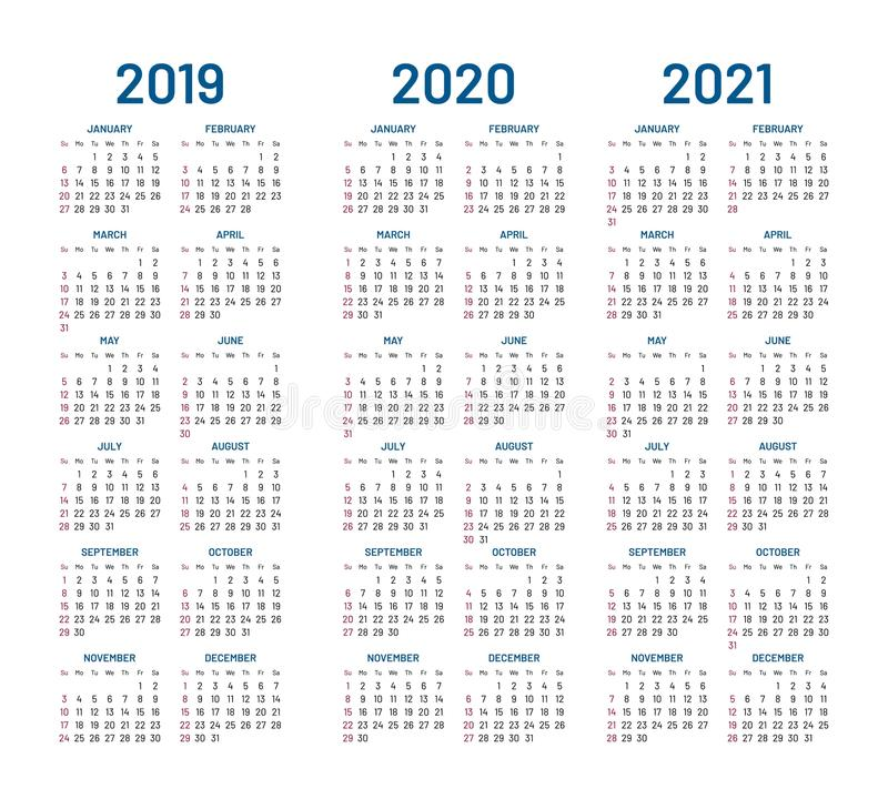 Year 2019 2020 2021 Calendar Vector Stock Vector   Illustration of