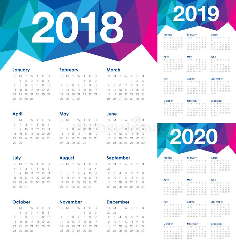 Year 2018 2019 2020 calendar vector stock illustration