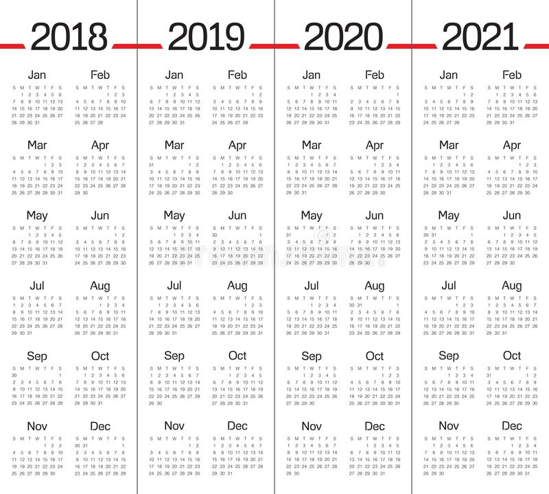 Year 2018 2019 2020 2021 calendar vector royalty free illustration