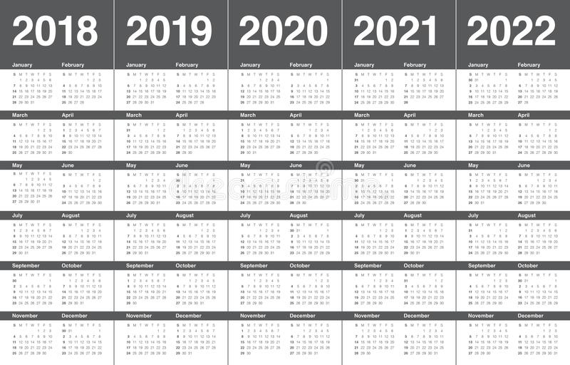 Year 2018 2019 2020 2021 2022 calendar vector stock photos