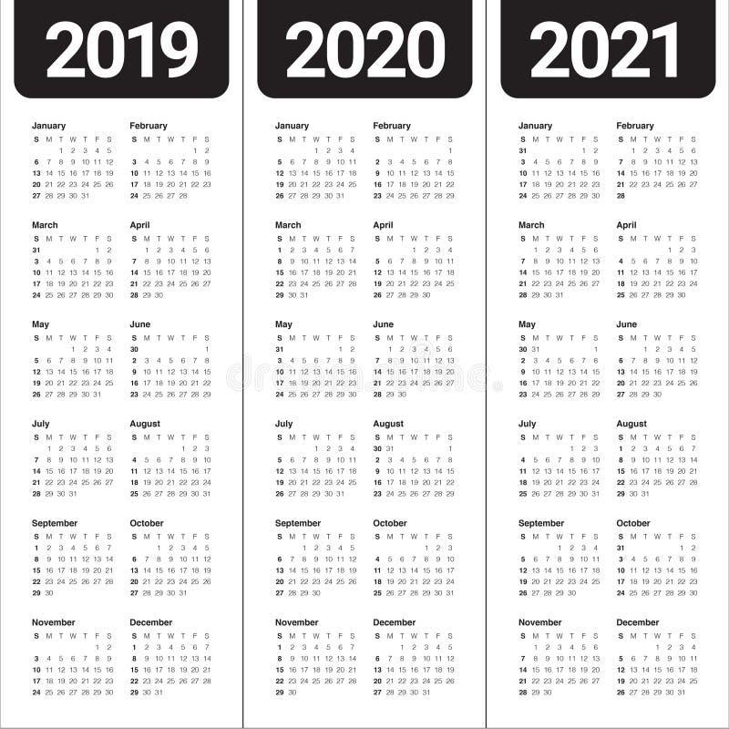 Year 2019 2020 2021 calendar vector design template vector illustration