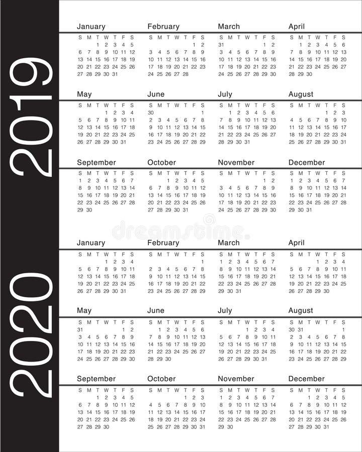 Year 2019 2020 calendar vector design template royalty free illustration