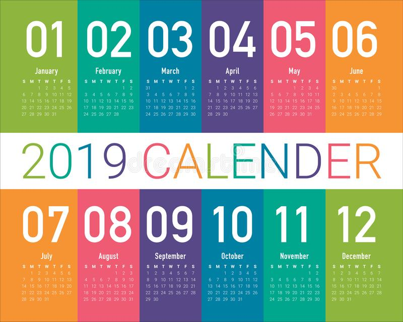 Year 2019 calendar vector design template royalty free illustration