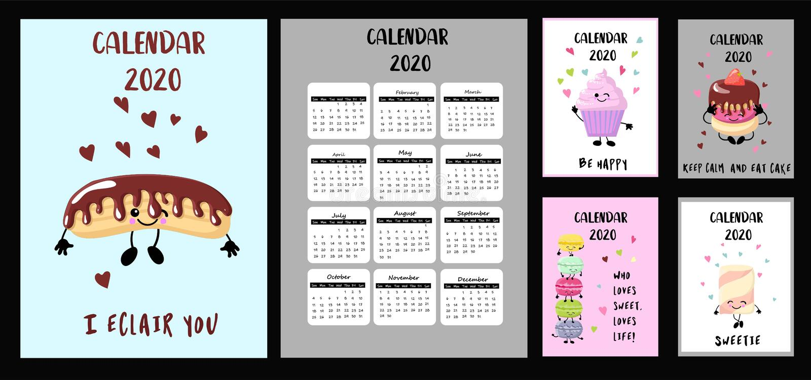 Year 2018 2019 2020 calendar vector design template, simple and stock illustration