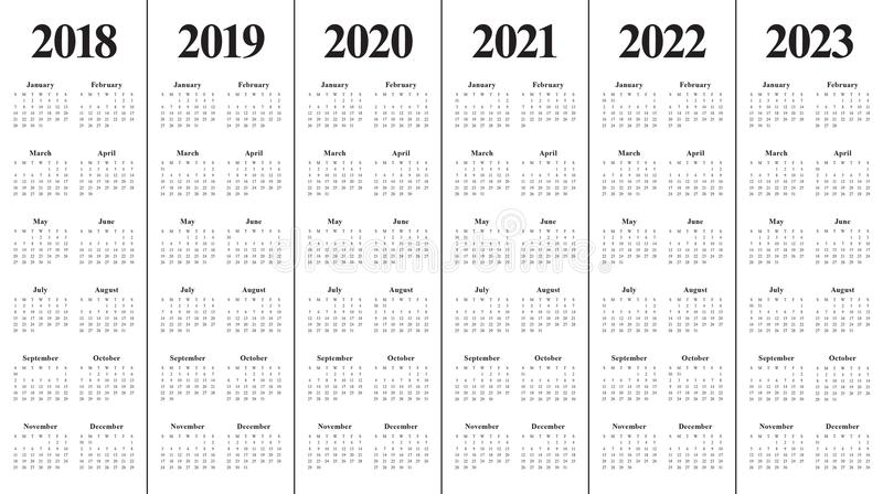 Year 2018 2019 2020 2021 2022 2023 calendar vector royalty free stock photo