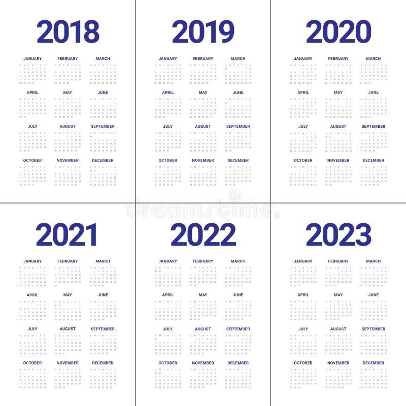 Year 2018 2019 2020 2021 2022 2023 calendar vector vector illustration