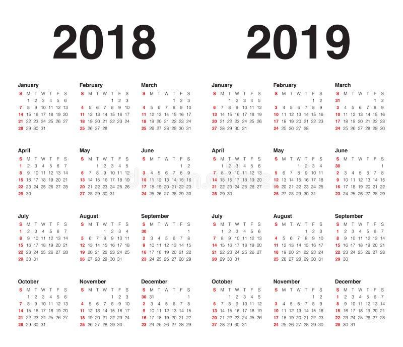 Year 2018 2019 calendar vector vector illustration