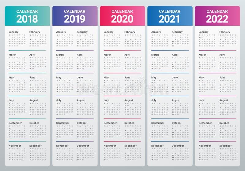 Year 2018 2019 2020 2021 2022 calendar vector royalty free illustration