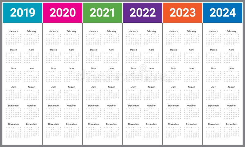 Year 2019 2020 2021 2022 2023 2024 calendar vector design template royalty free stock images