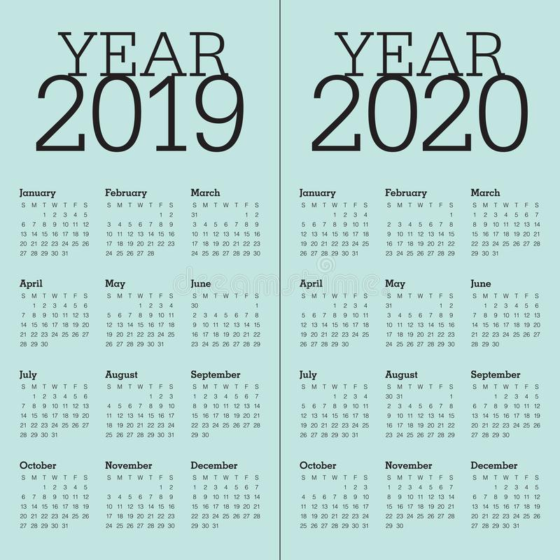 Year 2019 2020 calendar vector design template royalty free illustration