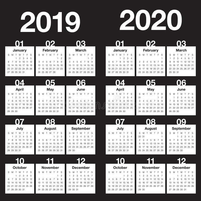 Year 2019 2020 calendar vector design template stock photography