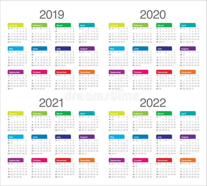Year 2019 2020 2021 2022 calendar vector design template royalty free illustration