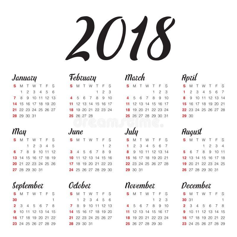 Year 2018 calendar vector design template royalty free illustration
