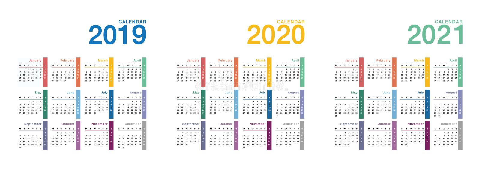 Year 2019 and Year 2020 and Year 2021 calendar vector design template, stock illustration