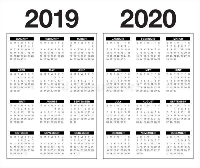 Year 2019 2020 calendar vector design template vector illustration