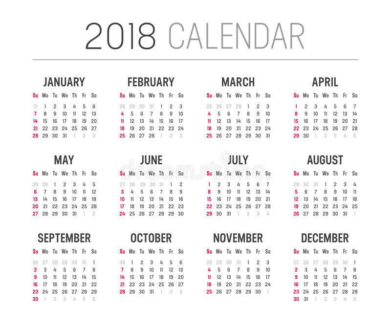 Minimalist Calendar Template : Year calendar vector template stock