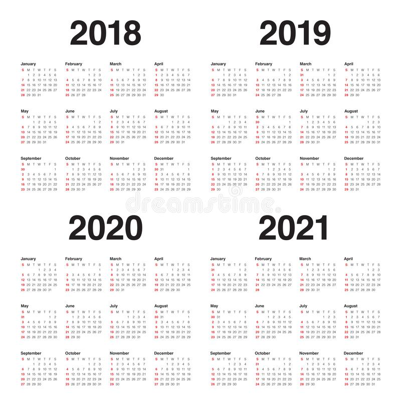 Year 2018 2019 2020 2021 calendar vector royalty free stock images