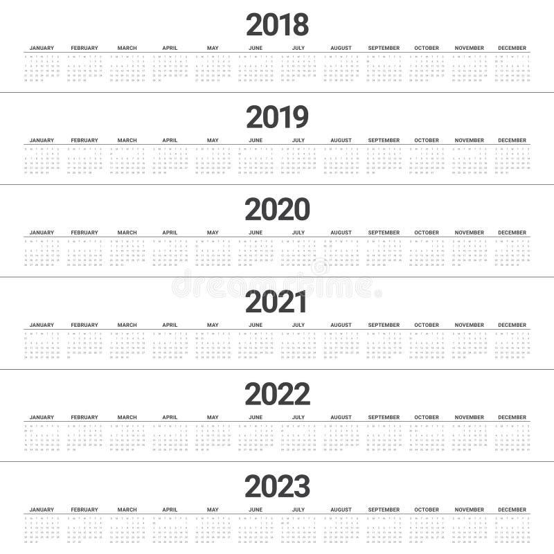 Year 2018 2019 2020 2021 2022 2023 calendar vector stock illustration