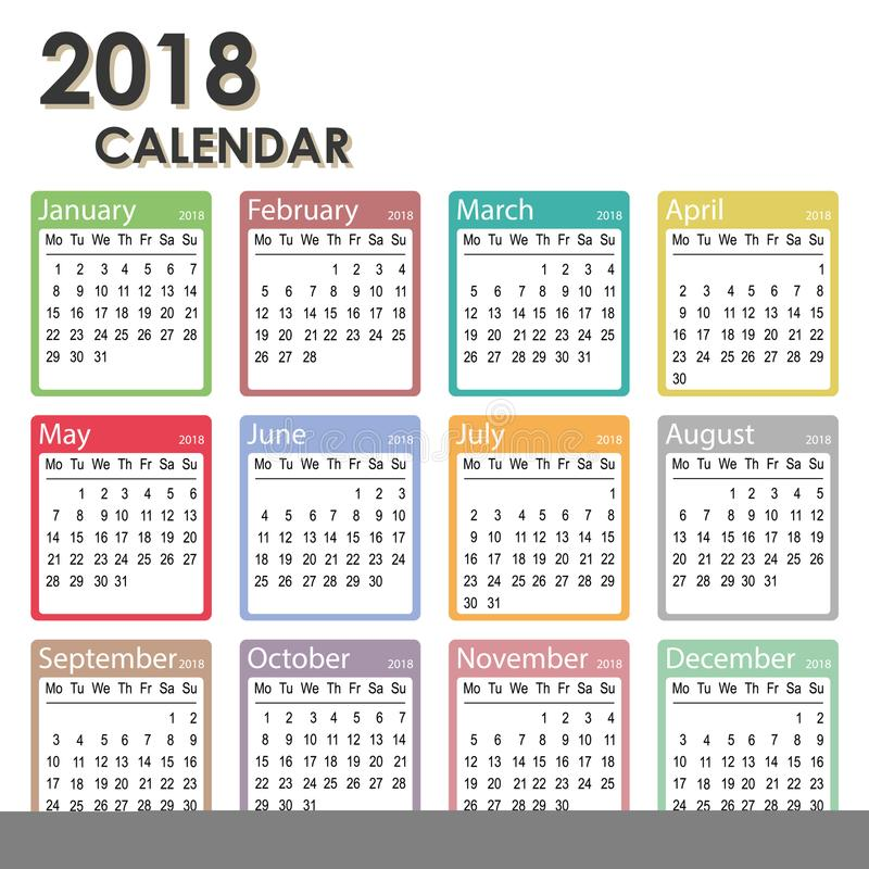 2018 Year Calendar Week Starts On Monday Monthly Calendar Template
