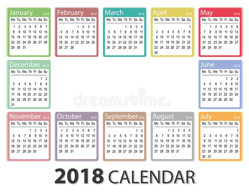 january 2018 calendar clip art